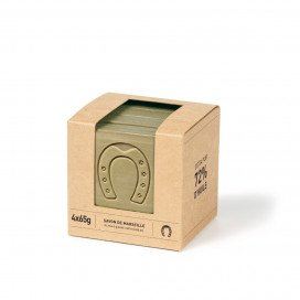 Sliced cube Olive Marseille Soap 4x65g